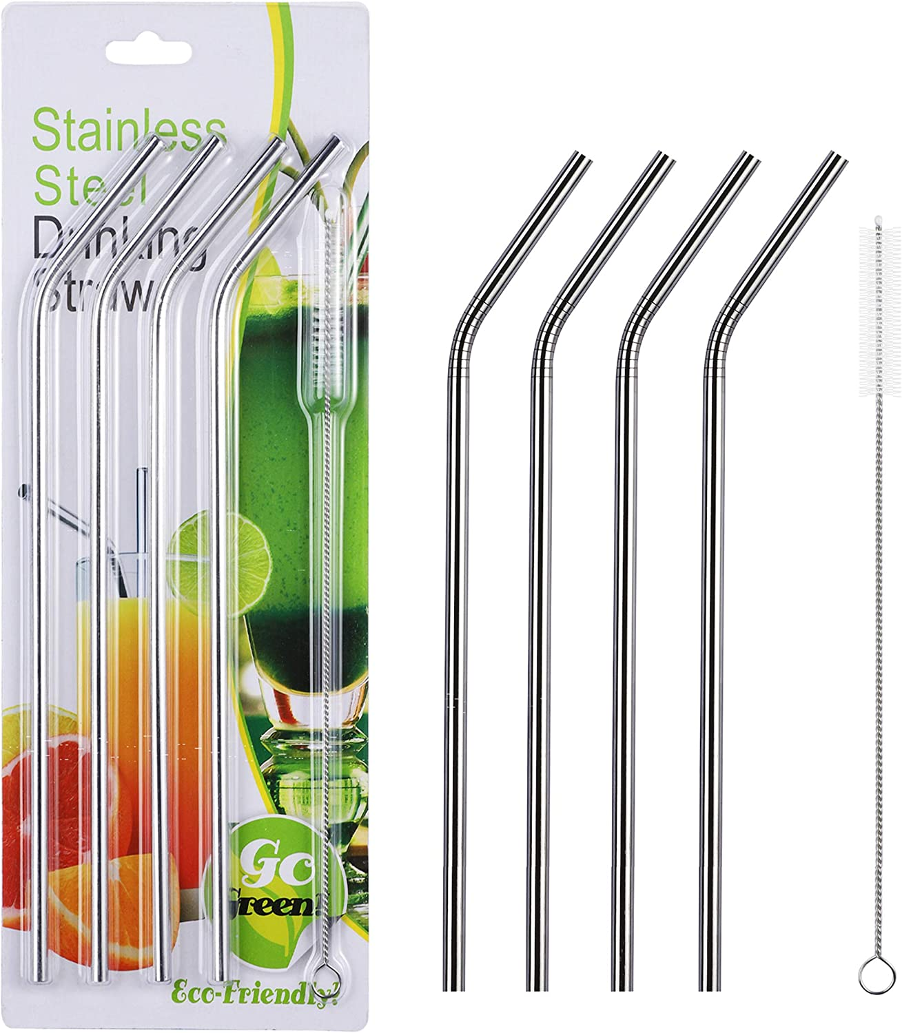 NAHAO Set of 9 Reusable Replacement Metal Stainless Steel Straws With 2 Cleaning Bristle Brushes for 30oz Yeti Ozark Tumbler RTIC