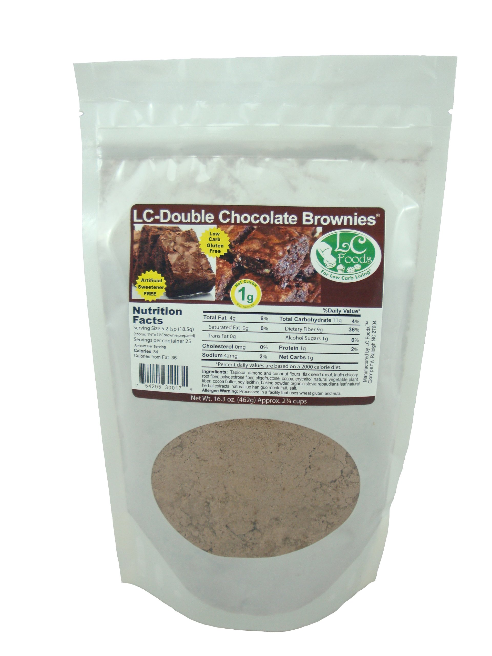 Low Carb Double Chocolate Brownie Mix - LC Foods - All Natural - No Sugar - Diabetic Friendly - 16.3 oz