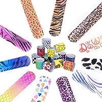 52 PCS Slap Bracelets Party Favors Pack with Diverse Pattern, Emoji, Animals, Heart Print Design, Retro Slap Wrist Bands…