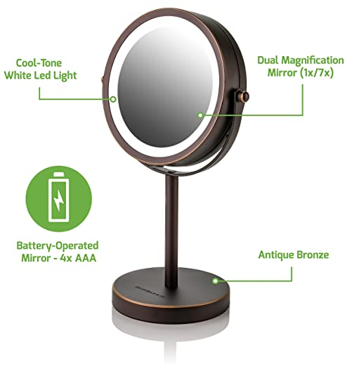 Ovente Lighted Tabletop Makeup Mirror, 6 Inch, Dual-Sided 1x/7x Magnification, Cordless, Operated, Cool-Tone LED Lights, Antique Bronze (MLT60BZ1X7X)