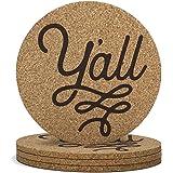 Y'all Texas Coaster Set Cork 3.5 Inch Coasters - 4 Texas Coasters Texas Gift