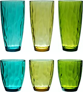 QG 14 & 23 Ounce Set of 6 Acrylic Plastic Iced Tea Cup Glass Tumbler in 3 Assorted Colors DF131141