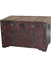Antique Cherry Large Wooden Storage Trunk