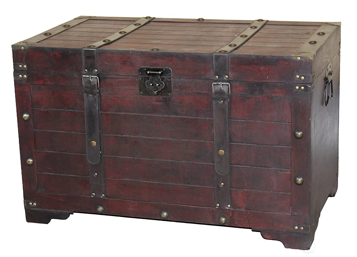 Vintiquewise QI003269L Antique Cherry Large Wooden Storage Trunk