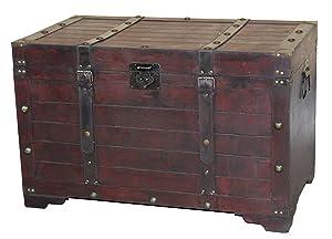 Vintiquewise QI003269LNEW Large Wooden Antique Storage Trunk, Cherry