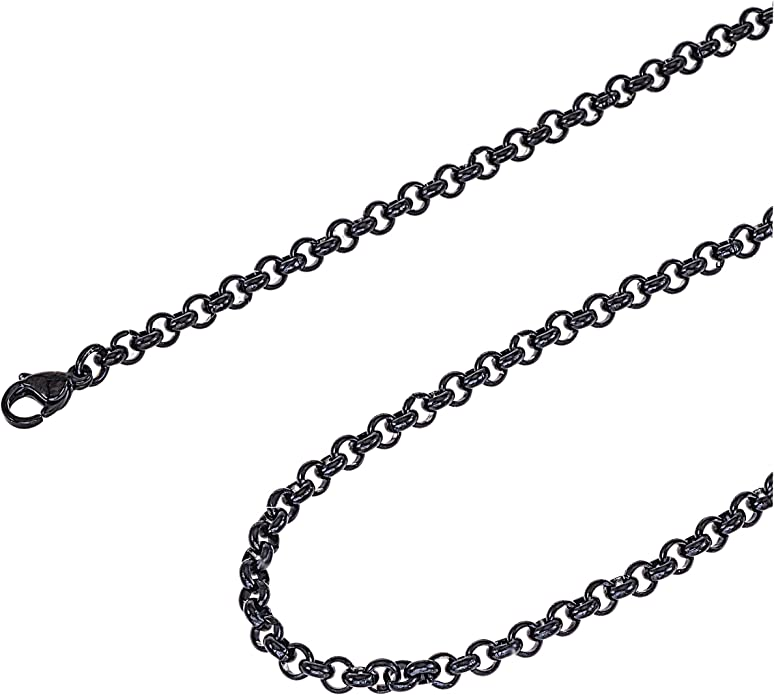 10 Pk 24-3mm x 4mm Flat Oval Links Craft Necklaces 3x4mm Dark Black Cable Chain Necklaces Antique Rolo Style Cable Chains