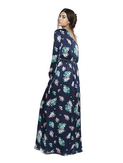 Caramelo Vestido Escote Asimetrico Largo, Mujer · Azul Marino, Talla 62: Amazon.es: Ropa y accesorios
