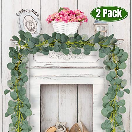Whaline 12ft Eucalyptus Guirnalda Artificial, Faux Silver Dollar Hanging Leaves Vines para Hogar, Jardín, Pared, Puerta, Chimenea, Decoración de Bodas y Fiestas de Cumpleaños (2 Piezas): Amazon.es: Hogar