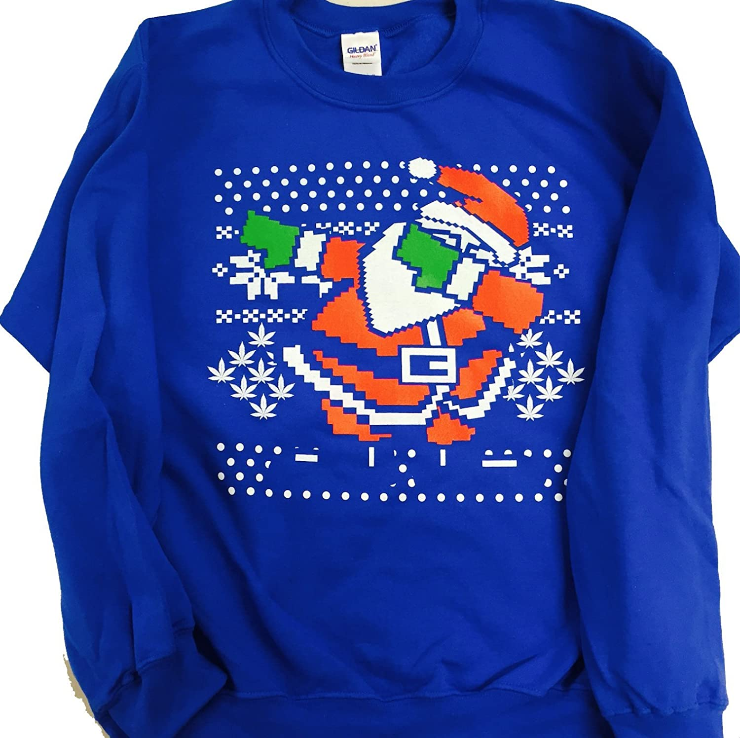 Amazon.com: Dabbing Santa Ugly Christmas Sweatshirt Men's Blue ...