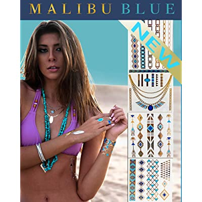 *Festival Flash Temporary Tattoos* Stylish & Chic Tattoo Jewelry - 29 Metallic Tattoos- Gold, Silver, Turquoise. Long Lasting Formula. Perfect festival gear for Burning Man Costumes & EDC (Penelope)