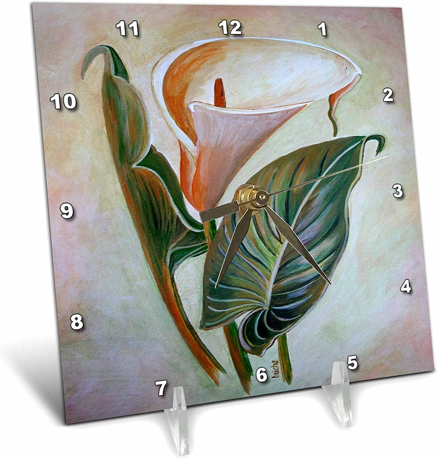 3dRose dc_55583_1 Calla Lily Botanical, Calla, Elegance, Floral, Flower, Garden, Lilies, Lily, Love, Macro, Pure Desk Clock, 6 by 6-Inch