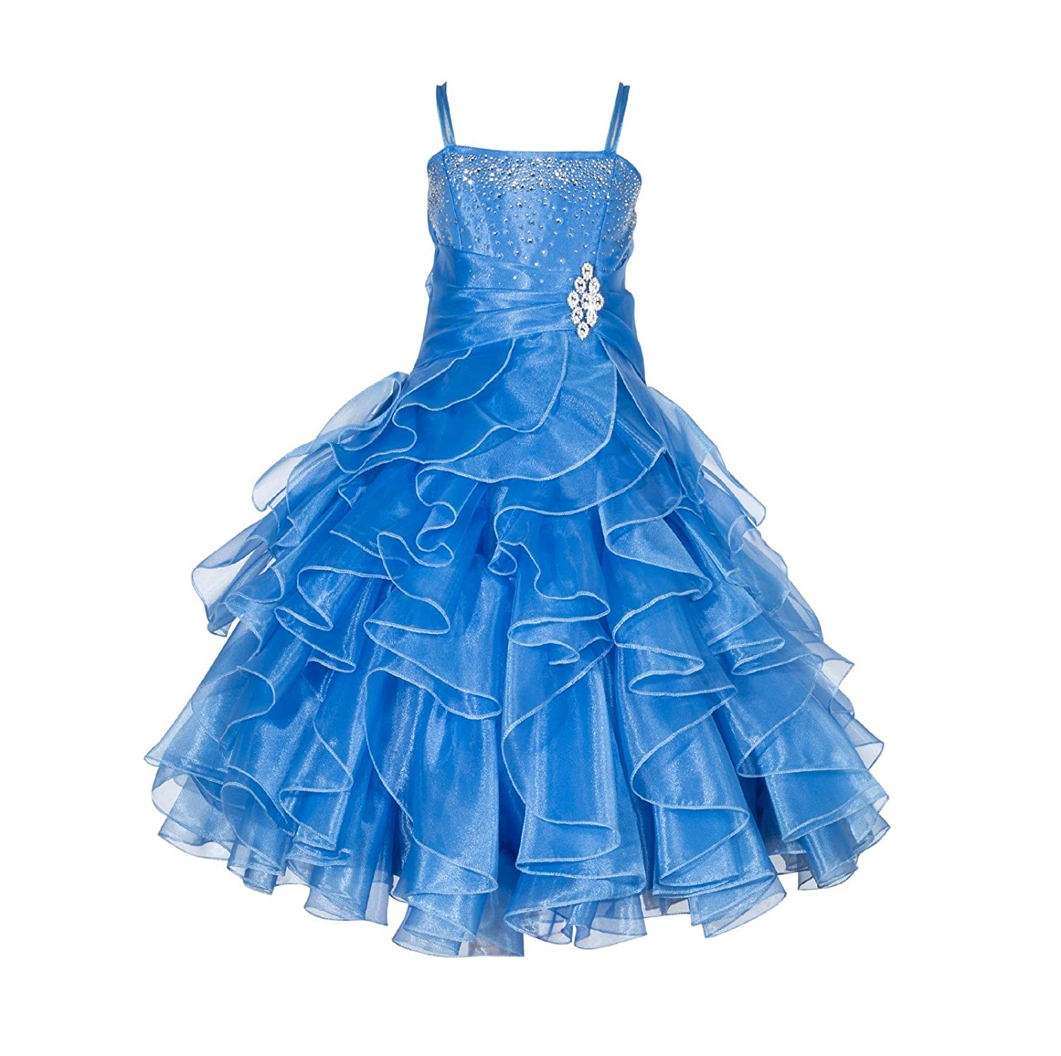 ekidsbridal Rhinestones Organza Layers Junior Flower Girl Dresses Christening Dress 164S