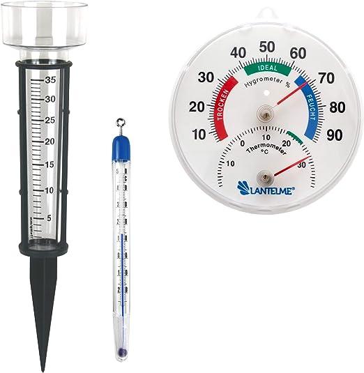 3 piezas jardín/Invernadero Thermo higrómetro termómetro/pluviómetro/suelo Juego con combinado Termómetro/higrómetro. Pluviómetro y analógico termómetro plástico suelo/Compost: Amazon.es: Jardín