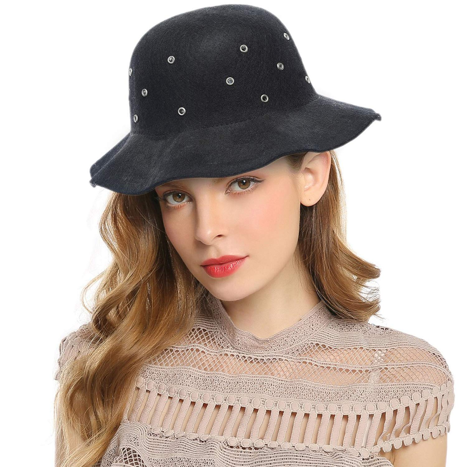 Women Fedoras Soft Ruffles Wide Brim Bucket Hats Women Autumn Winter Wind-Proof Breathable Church Hats