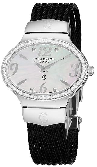 Charriol Darling Reloj ovalado de acero inoxidable con diamantes de imitación para mujer, reloj analógico