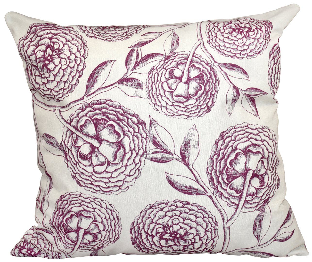 E by design O5PFN493BL14BL15-18 18 x 18 Antique Flowers Floral Blue Outdoor Pillow