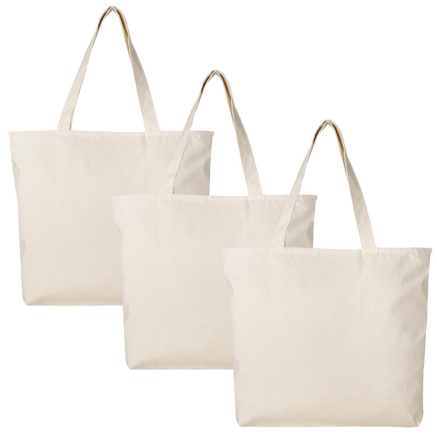 e21437b86b68 PACK OF 3 Large Heavy Canvas Plain Tote Bags, with Top and Inside Zipper  Closure by BagzDepot (Natural)