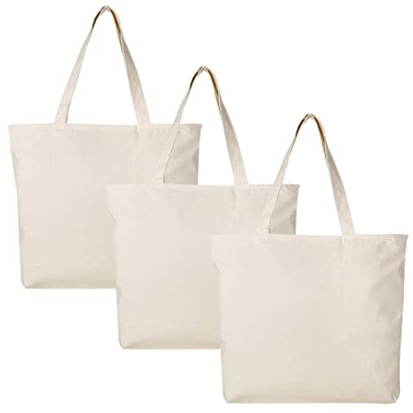 dca88701ec0 PACK OF 3 Large Heavy Canvas Plain Tote Bags, with Top and Inside Zipper  Closure by BagzDepot (Natural)
