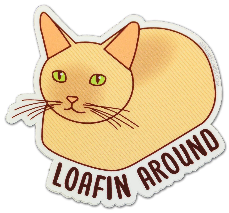 Cat Vinyl StickerLoafin Around Cat Loaf Cat Lover Decal Laptop Bike Dishwasher Safe Car or Water Bottle
