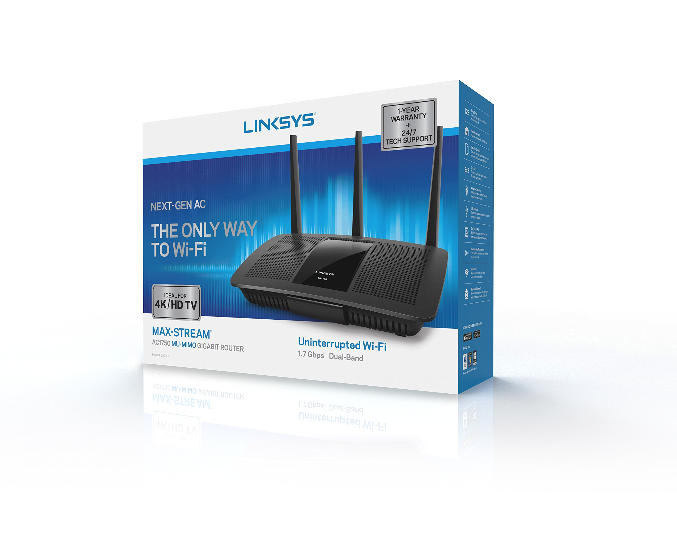 Linksys AC1750 Dual-Band Smart Wireless Router with MU-MIMO, Works with Amazon Alexa (Max Stream EA7300)