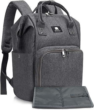 【Gran Capacidad & 11 Bolsillos】El bolso-mochila bebe tiene 1 compartimiento grande con cierre y 10 b