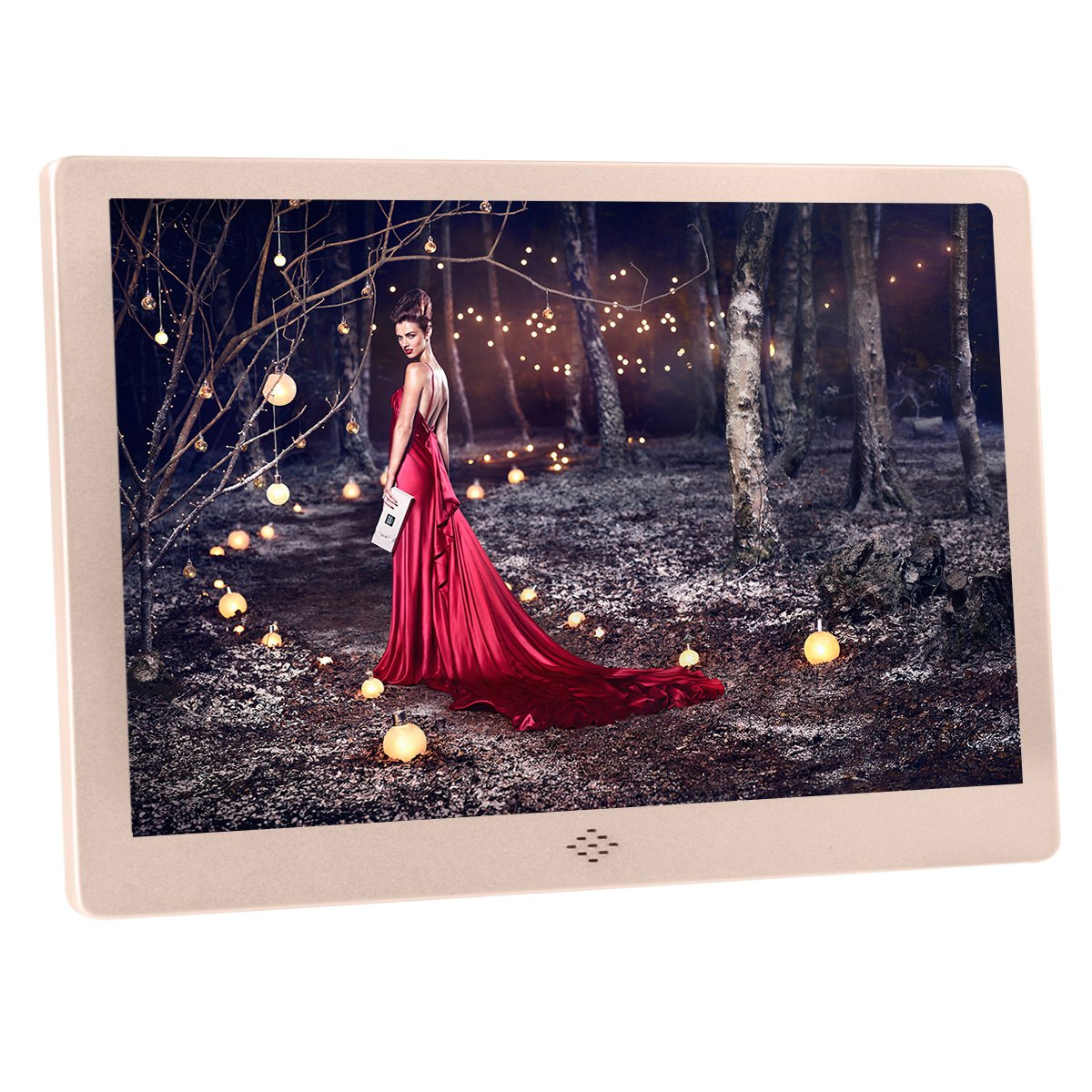 Any-door Digital Picture Frame 12 inch HD Video Player with Music Calender 1080p with Remote Control Picture Display WIFI(Gold)