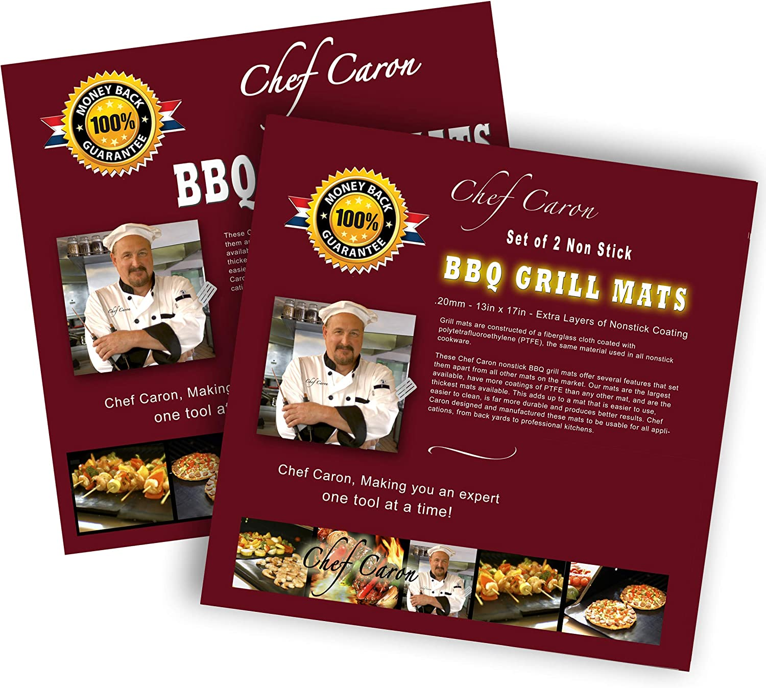 Chef Caron Bundle of 2 Sets – pro BBQ Grill mat Each Set with Two Heavy-Duty Grilling Sheets, nonstick, Ultra-Slick, Extra Thick .25mm