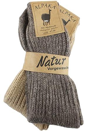 Sonia origi Nelli 2 pares de calcetines alpaca Medias Calcetines De Invierno Calcetines de lana de oveja socke11 beige/marrón 43/46: Amazon.es: Ropa y ...
