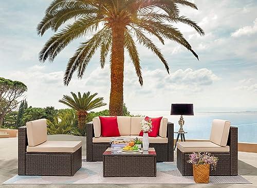 GUNJI 5 Pieces Patio Furniture Sets Outdoor Sectional Sofa Outdoor Furniture Set Patio Sofa Set Conversation Set