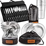 Wealers Unique Complete Messware Kit Polished Stainless Steel Dishes Set  Tableware  Dinnerware  Camping  Buffet…