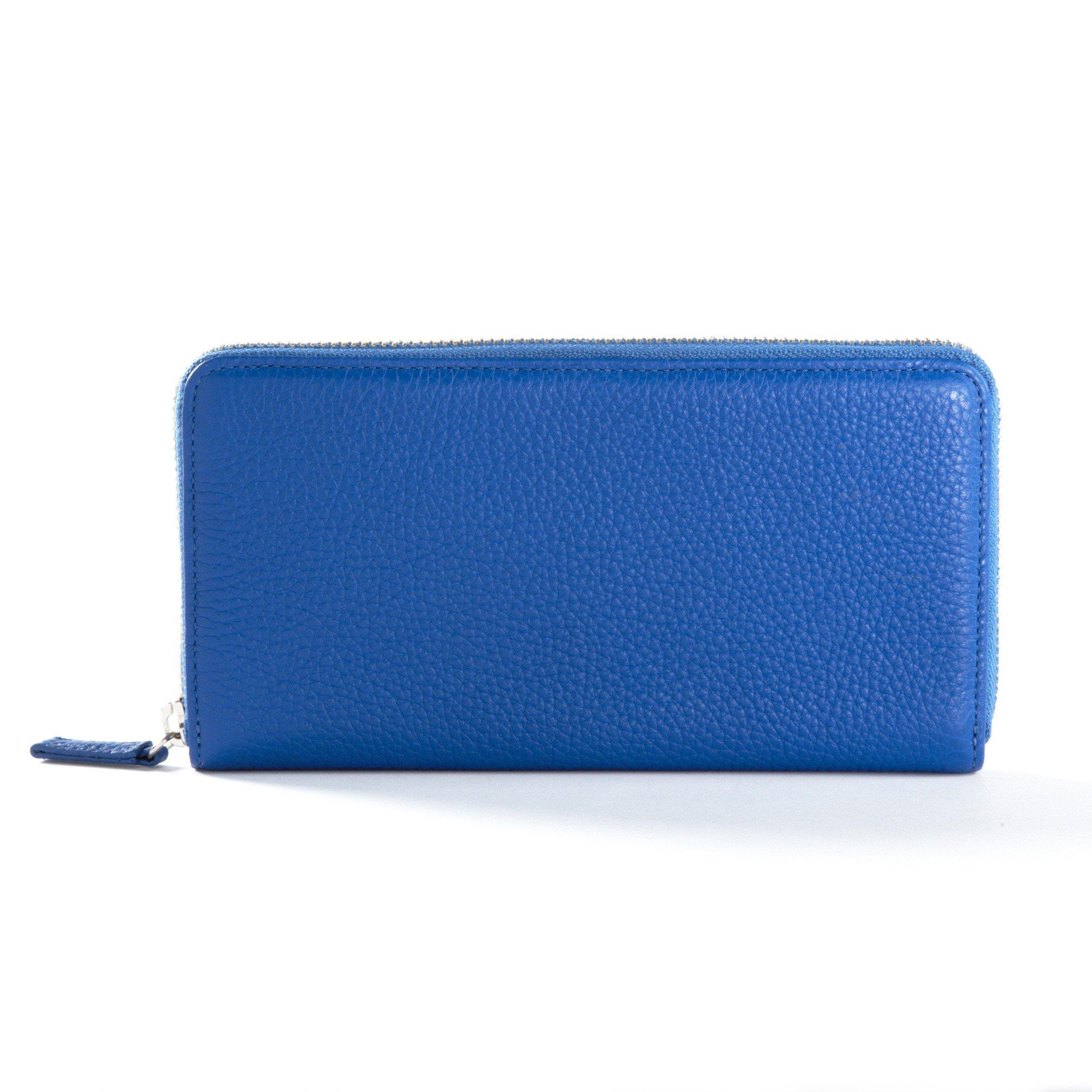 Zippered Continental Wallet - Full Grain Leather - Cobalt (blue)