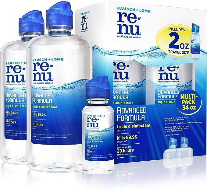 Amazon.com: Renu Advanced Formula Multi-Purpose Solution, 2x16 Ounce Plus 2oz Travel Size: Health & Personal Care