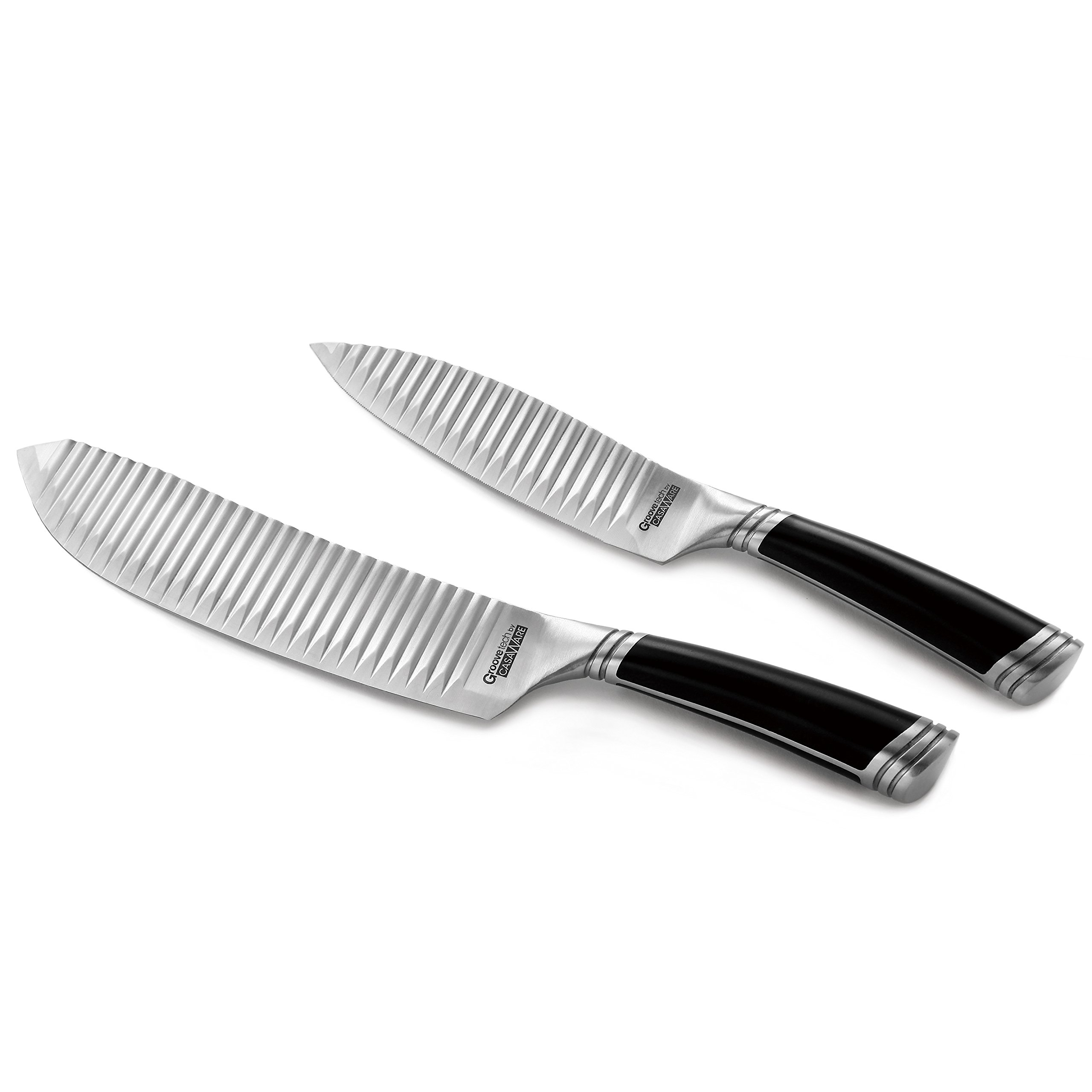 casaWare Groovetech 2-Piece Knife Set (6-Inch Serrated Utility and 8-Inch All Purpose Knife) by casaWare