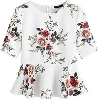 Romwe Women's Cute Floral Print Round Neck Ruffle Hem Peplum Tops
