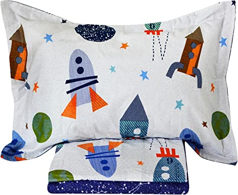 Vintage UFO Rockets Kids Twin Flat Sheet 100/% Cotton by Hillcrest Science Galaxy Universe Kids Bed Sheet