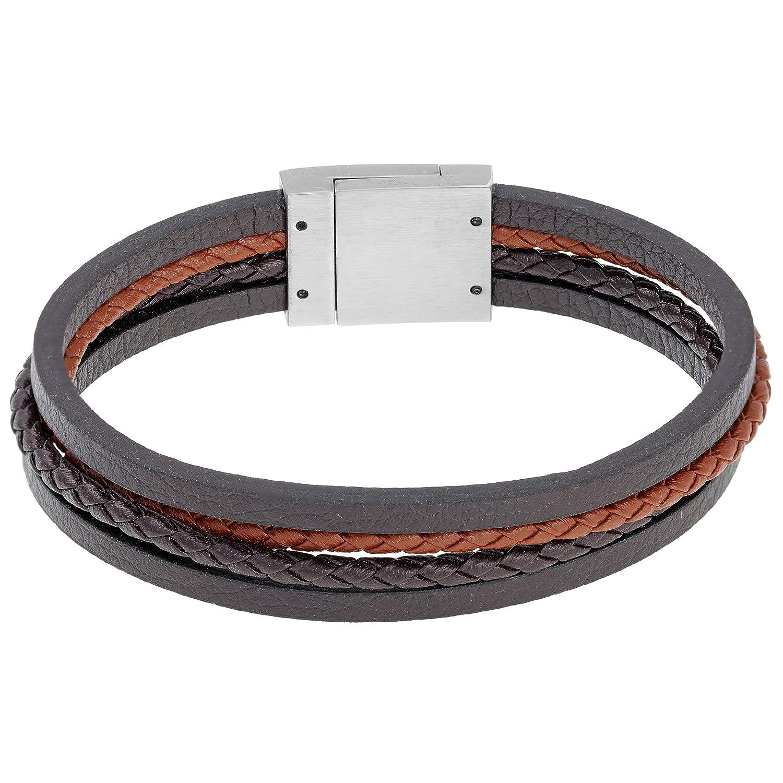Lavari Stainless Steel And Genuine Leather Bracelet