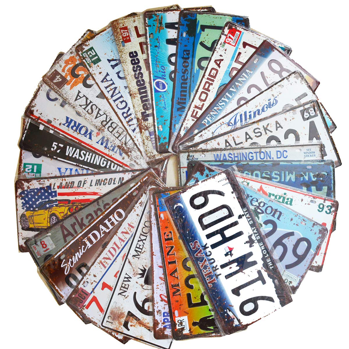 24 Pieces Assorted Retro Vintage Number Tags, Embossed License Plates, Home Wall Automobile Bar Garage Man Cave Decoration, 6x12 inch / 15x30cm by PEI's