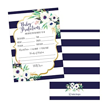 Amazon 50 Navy Floral Advice And Prediction Cards For Baby