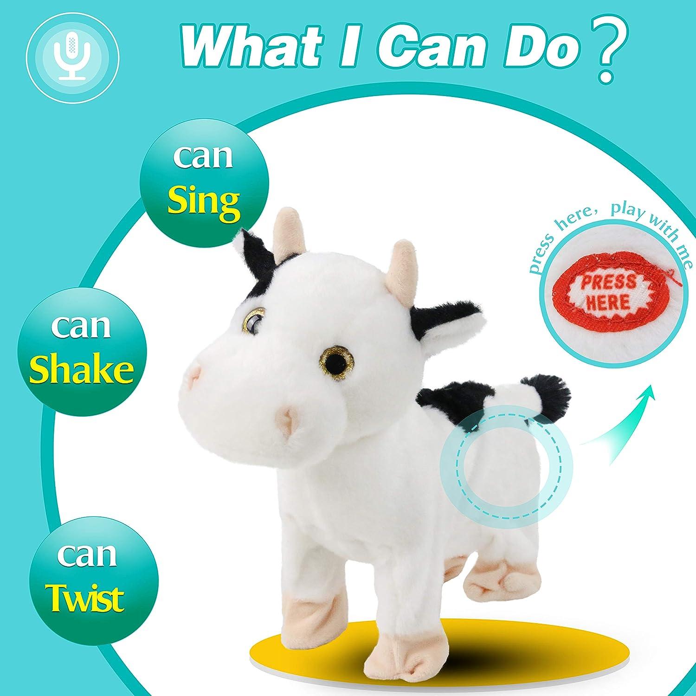 White 10/'/' Houwsbaby Crazy Cow Headbanging Rock /& Roll Musical Plush Toy Interactive Animated Shaking Stuffed Animal Gift for Kids Girls Boys