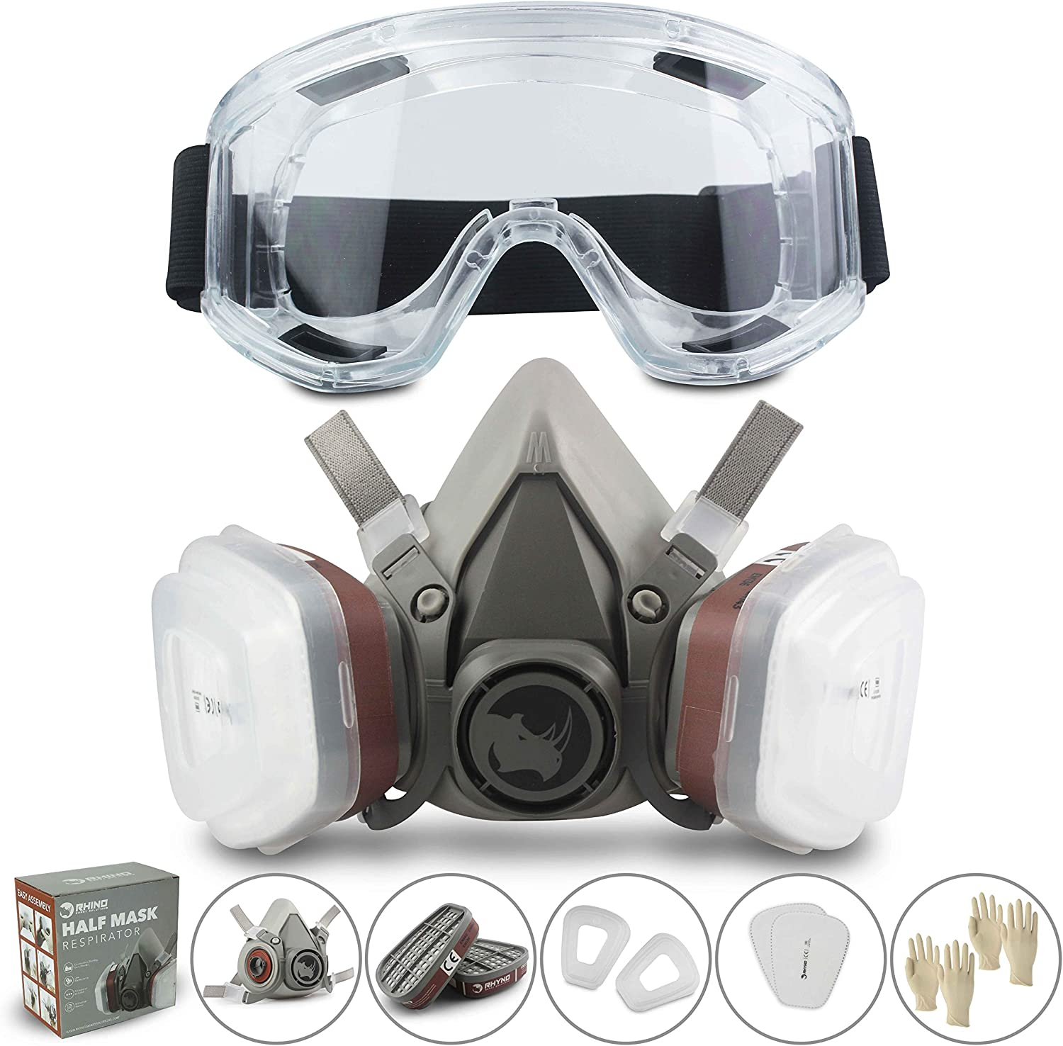 RSM Reusable Face Cover Set for Painting, Dust, Machine Polishing, Vapors with Filter Cotton, Glasses and Gloves for DIY and Other Work Protection