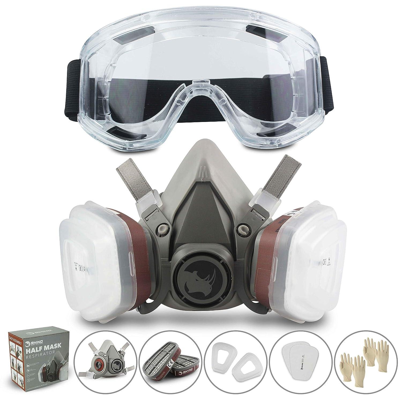Respirador RHINO Máscara Antipolvo Reutilizable Máscara de Gas contra Polvo, Pintura, Productos Químicos, Lijado a Máquina, Formaldehído con Gafas de Seguridad, Filt