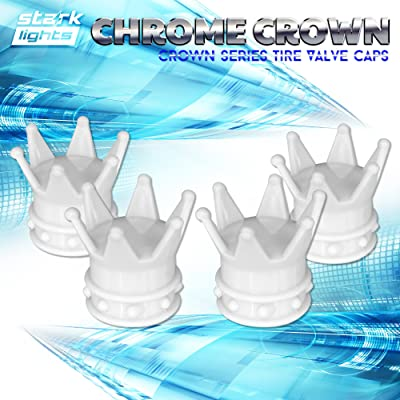 White Crown Tire Wheel Stem Air Valve Caps Car Truck Hot Rod Bike US - 4PCS Set: Automotive