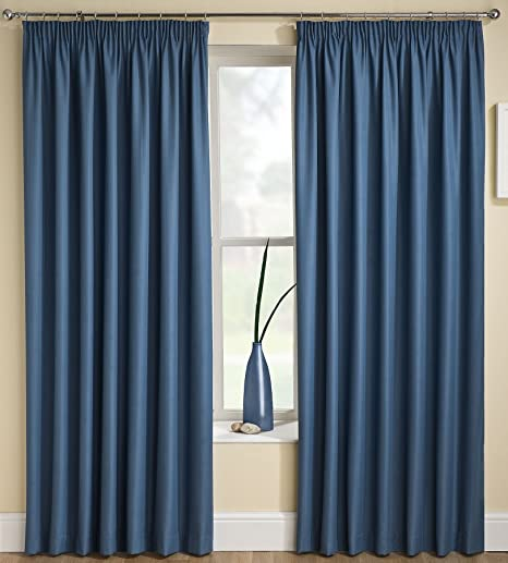 Tania Lined Block Out Curtains 90quot X 72quot Plain Solid Dark Blue Thermal Backed
