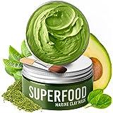 100% Vegan Dead Sea Mud Mask with Avocado & Superfoods – 100ml/3.4 Oz Dermatologically Tested Hydrating Clay Mask - Blackhead