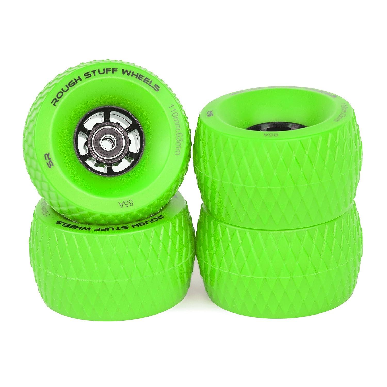 Slick Revolution Skate Wheels: 78A Durometer, 110mm Rough Terrain Longboard/Electric Skateboard Wheels Set with ABEC 7 Bearings | Great Grip on Tarmac Rough Ground  Green B07CJJVN69