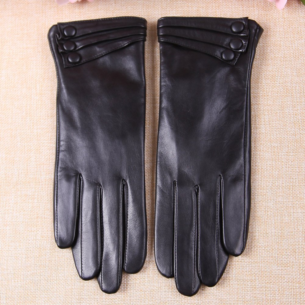 Warmen Women's Touchscreen Texting Driving Winter Warm Nappa Leather Gloves - 6.5 (US Standard size) - Black ( Fleece Lining ) by WARMEN (Image #5)