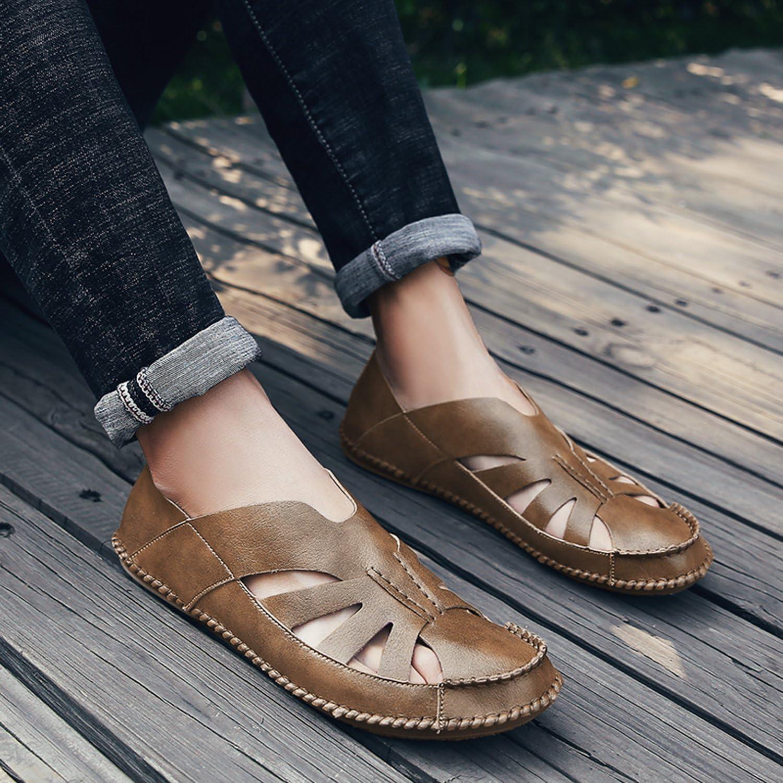 OUYAJI Men Leather Sports Sandals Summer Outdoor Closed Toe Beach Fisherman Sandals