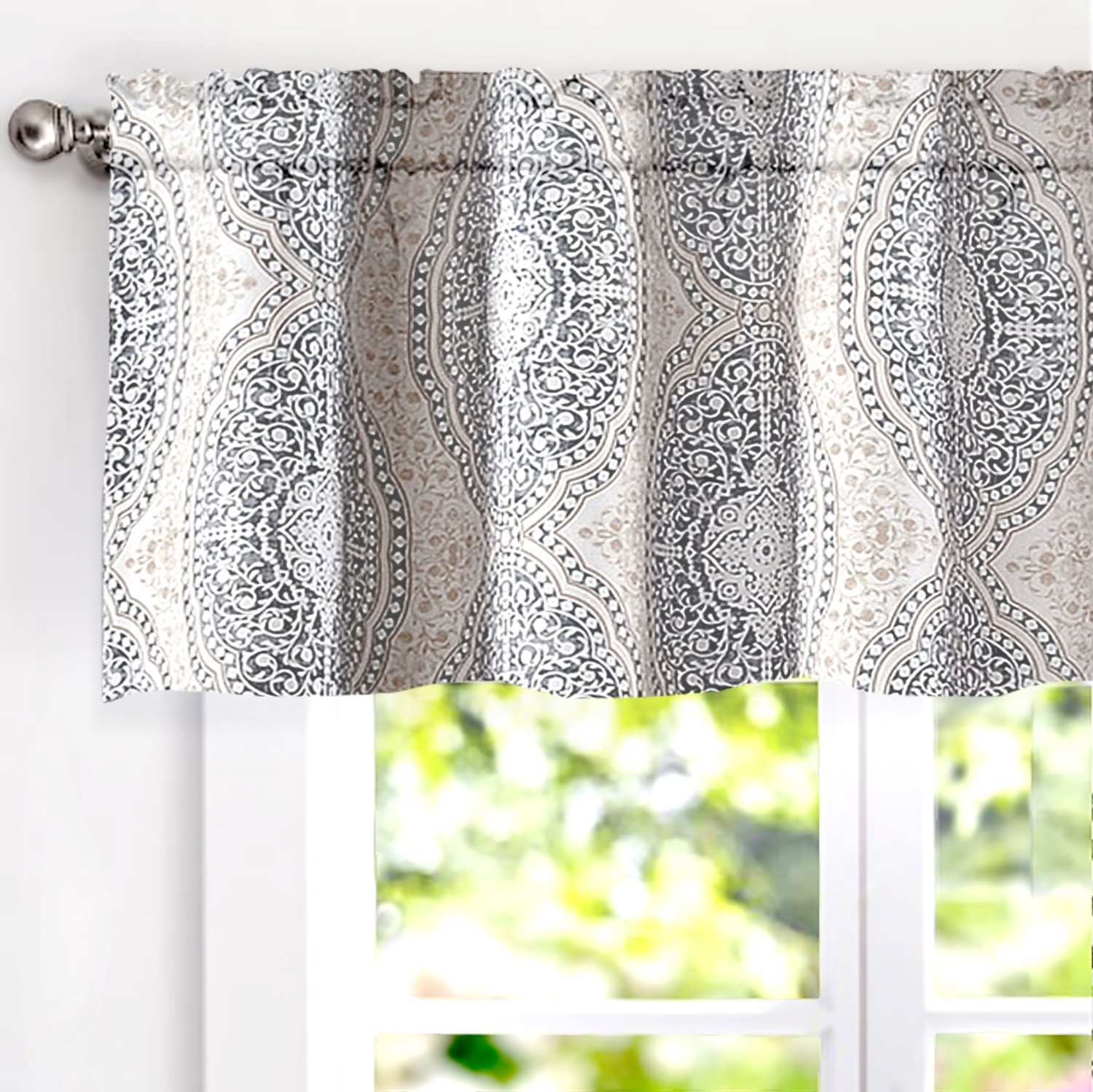 "DriftAway Adrianne Damask/Floral Pattern Window Curtain Valance (52""x18"", Beige/Gray)"