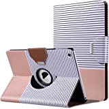 iPad Air Case, ULAK Ultra Slim 360 Rotating Synthetic Leather Smart Cover Case with Magnetic Auto Wake & Sleep Function for Apple iPad Air 1st Gen (2013) - Minimal Stripes Rose Gold
