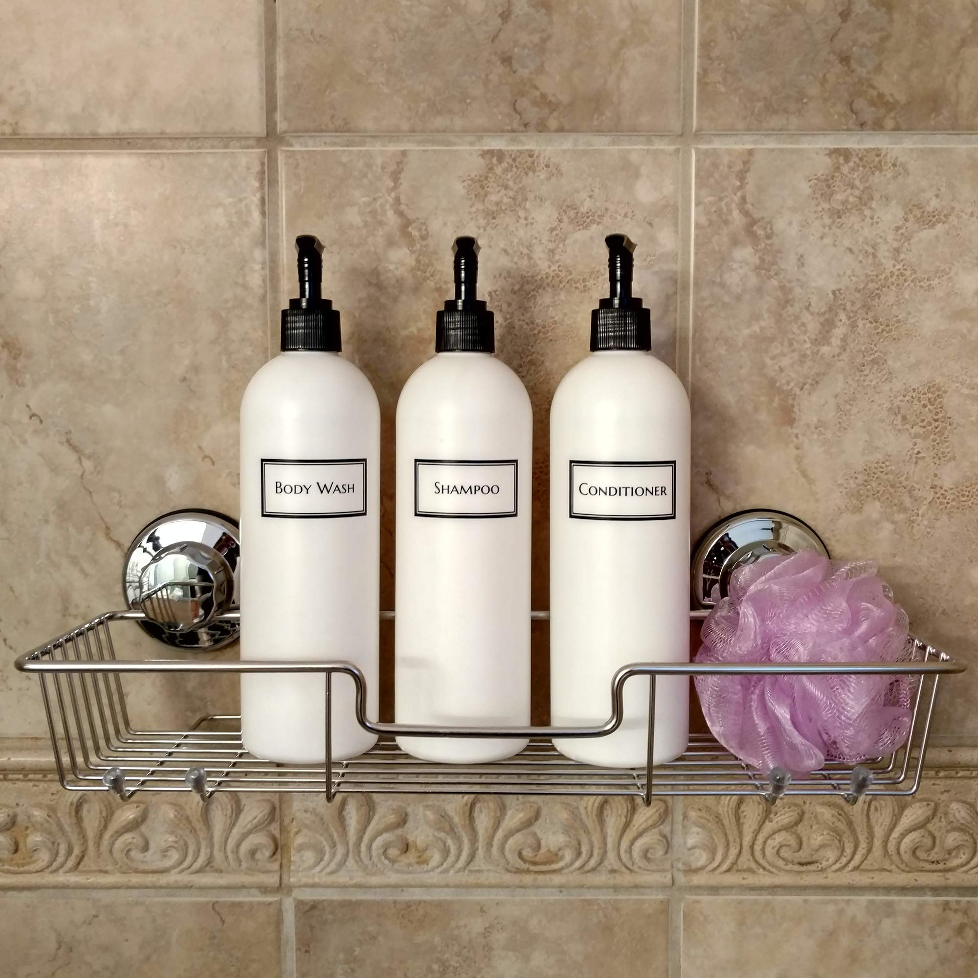 Artanis Home Silkscreened Empty Shower Bottle Set for Shampoo, Conditioner, and Body Wash, 16 oz 3-Pack, White (Black Pumps) by Generic (Image #3)